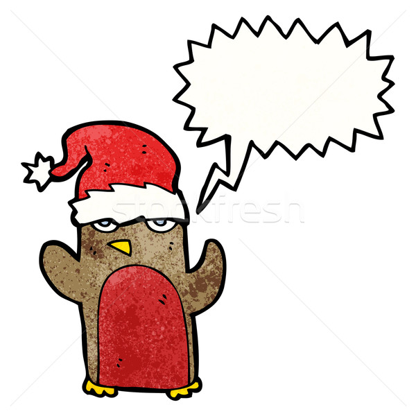 cartoon robin in santa hat Stock photo © lineartestpilot