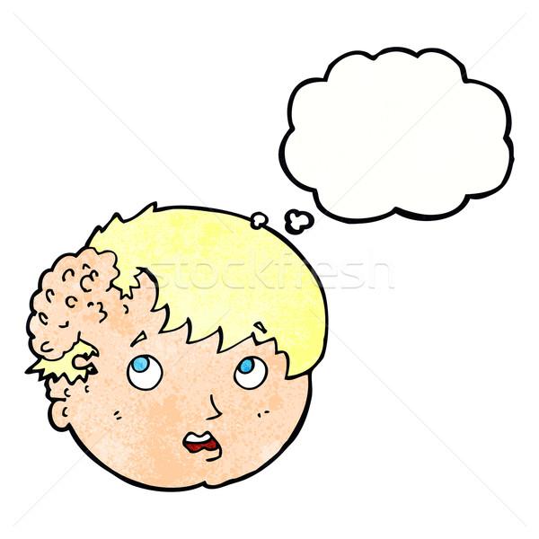 Cartoon мальчика уродливые роста голову мысли пузырь Сток-фото © lineartestpilot