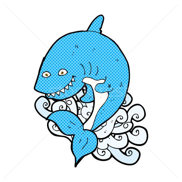 Comic desen animat rechin retro stil Imagine de stoc © lineartestpilot