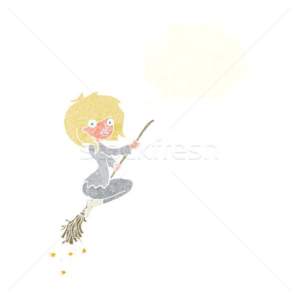 Cartoon strega equitazione manico di scopa bolla di pensiero mano Foto d'archivio © lineartestpilot