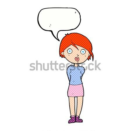Cartoon szczęśliwy kobieta ręce biodra bubble myśl Zdjęcia stock © lineartestpilot