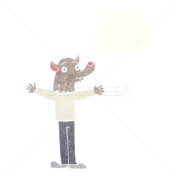 漫画 優しい 狼 思考バブル 手 幸せ ストックフォト © lineartestpilot