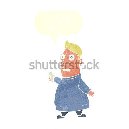Cartoon nervoso uomo biglietti bolla di pensiero mano Foto d'archivio © lineartestpilot