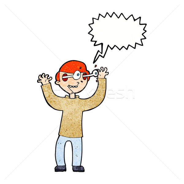 cartoon man with eyes popping out of head with speech bubble Stock photo © lineartestpilot