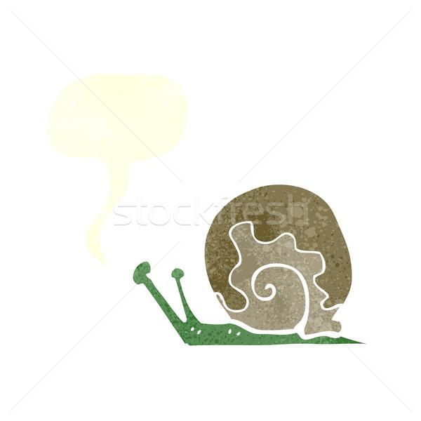 Rajz csiga szövegbuborék kéz terv művészet Stock fotó © lineartestpilot