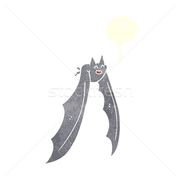 cartoon flying bat with speech bubble Stock photo © lineartestpilot