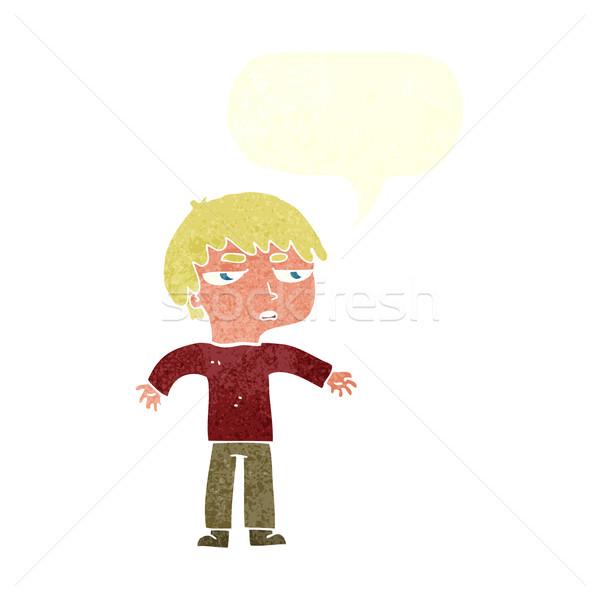 Cartoon agacé garçon bulle main homme Photo stock © lineartestpilot