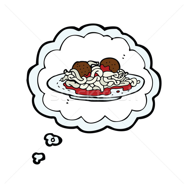 cartoon spaghetti and meatballs with thought bubble Stock photo © lineartestpilot