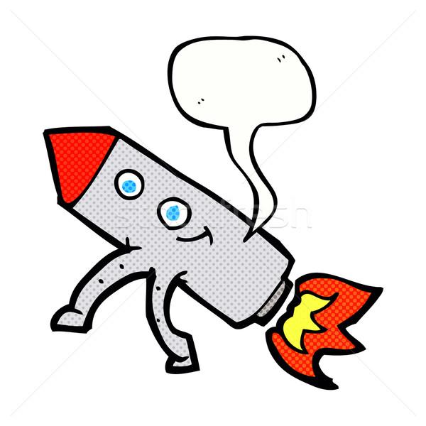 Cartoon gelukkig raket tekstballon hand gezicht Stockfoto © lineartestpilot