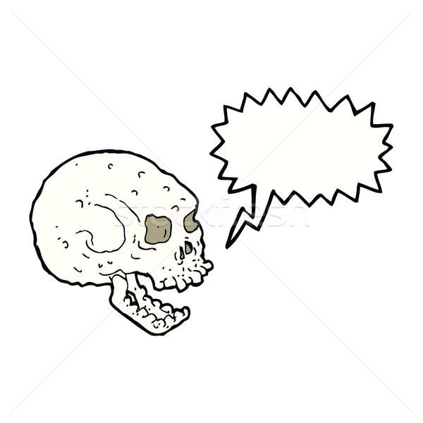 cartoon spooky skull with speech bubble Stock photo © lineartestpilot