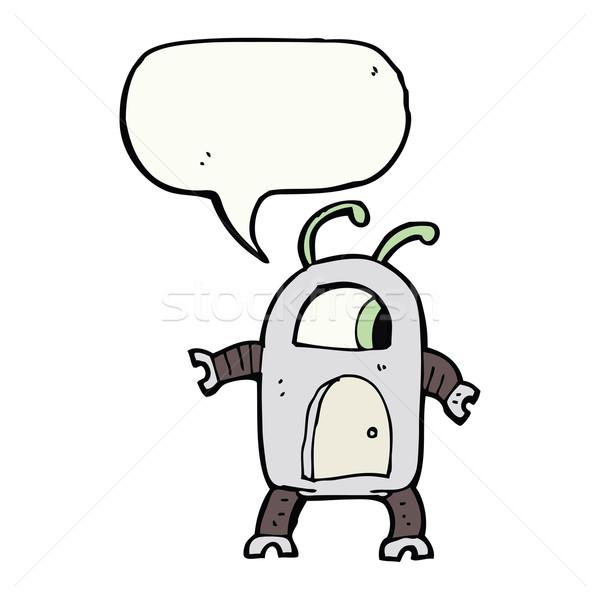 Desenho animado alienígena robô balão de fala mão projeto Foto stock © lineartestpilot
