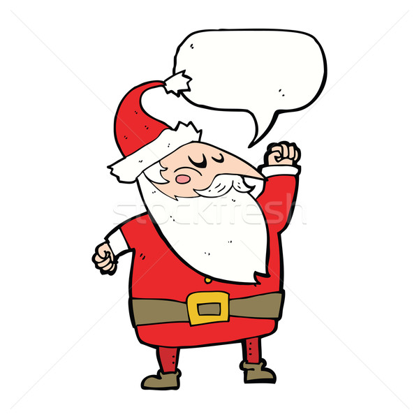 cartoon santa claus punching air with speech bubble Stock photo © lineartestpilot