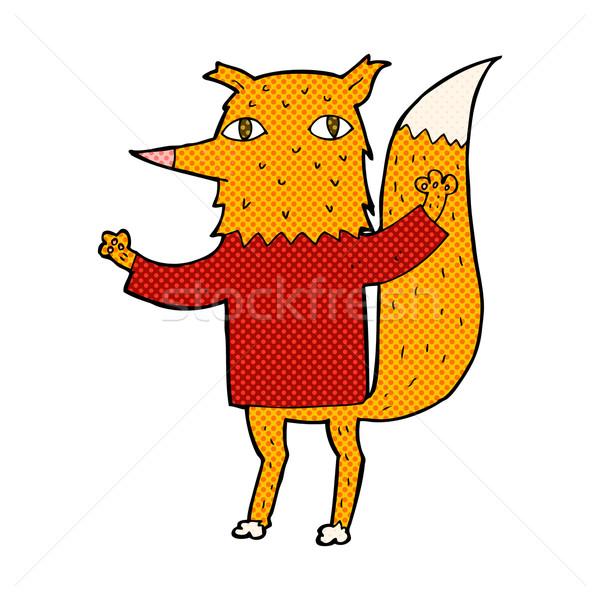 Képregény rajz róka retro képregény stílus Stock fotó © lineartestpilot