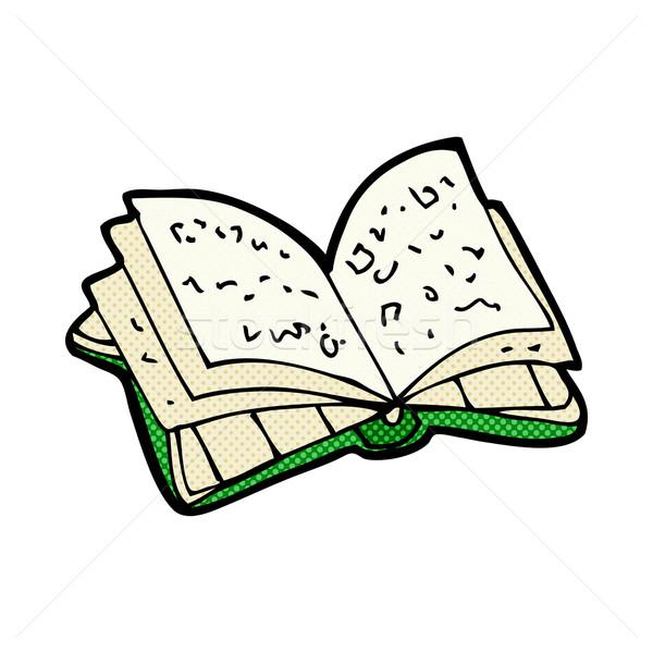 Komische cartoon Open boek retro stijl Stockfoto © lineartestpilot
