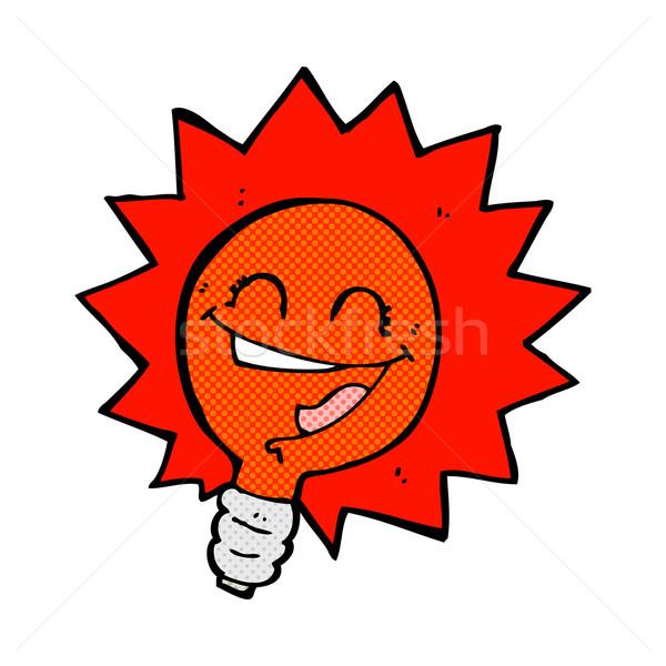 happy flashing red light bulb comic cartoon  Stock photo © lineartestpilot