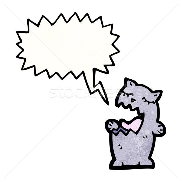 歌 猫 漫画 話し レトロな 図面 ストックフォト © lineartestpilot