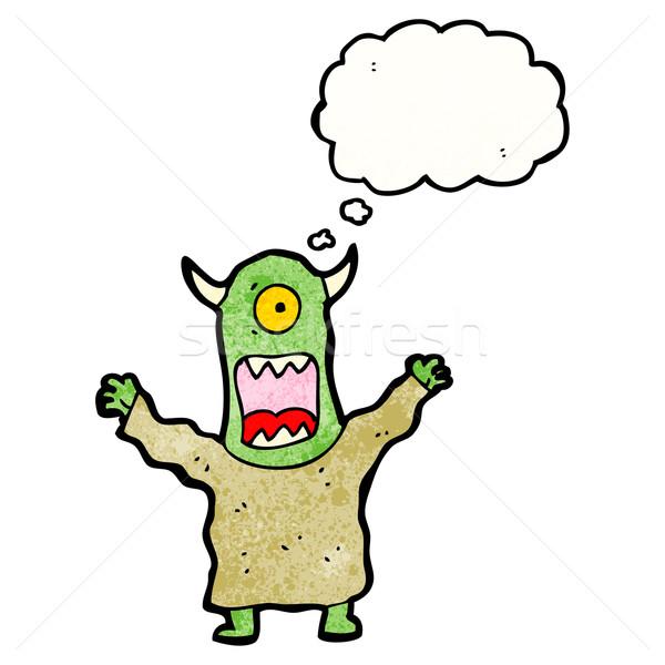 Karikatur Monster Retro Denken Zeichnung Idee Stock foto © lineartestpilot