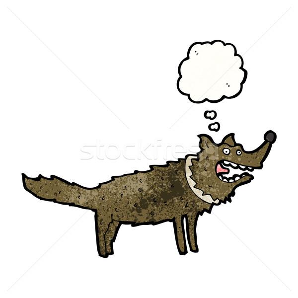 Cartoon волка мысли пузырь ретро рисунок Идея Сток-фото © lineartestpilot