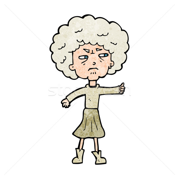 cartoon annoyed old woman Stock photo © lineartestpilot