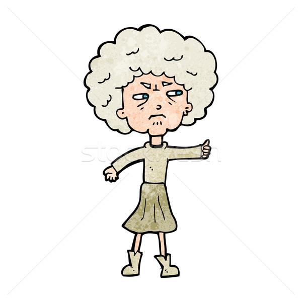 Cartoon infastidito vecchia donna mano design Foto d'archivio © lineartestpilot