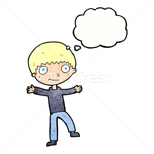 Cartoon bubble myśl strony człowiek szczęśliwy Zdjęcia stock © lineartestpilot