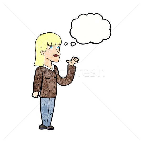 Cartoon vrouw uitleggen gedachte bel hand ontwerp Stockfoto © lineartestpilot