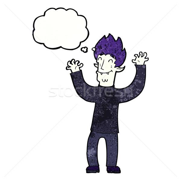 Cartoon счастливым вампир человека мысли пузырь стороны Сток-фото © lineartestpilot
