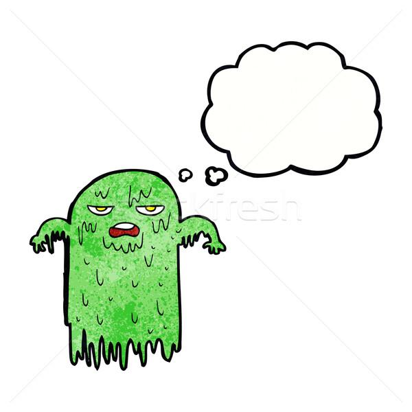Cartoon слизистый Ghost мысли пузырь стороны дизайна Сток-фото © lineartestpilot