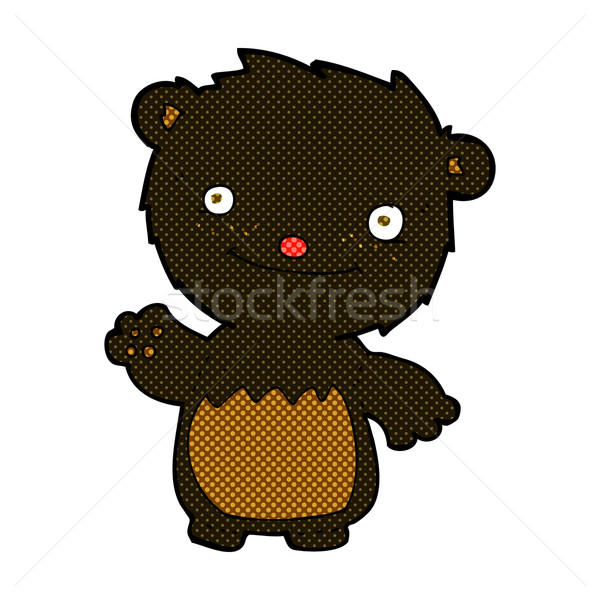 comic cartoon waving black bear cub Stock photo © lineartestpilot