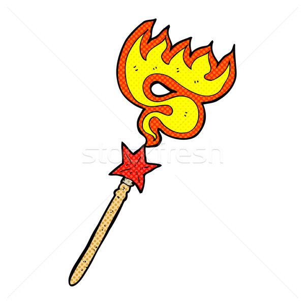 comic cartoon magic wand casting fire spell Stock photo © lineartestpilot