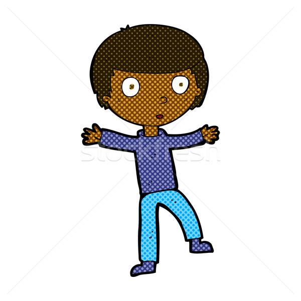 comic cartoon startled boy Stock photo © lineartestpilot