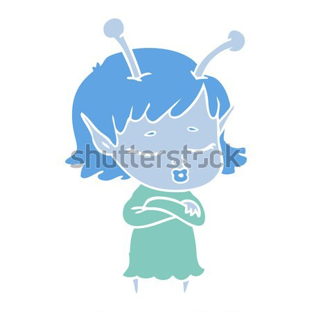 cartoon victorian woman dropping handkerchief with thought bubbl Stock photo © lineartestpilot