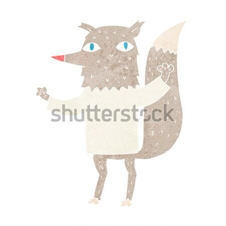 Cartoon счастливым волка рубашку мысли пузырь Сток-фото © lineartestpilot