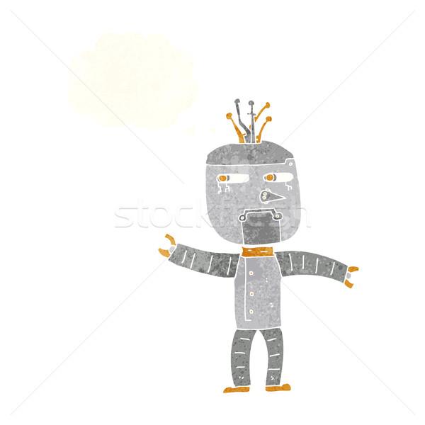 Karikatür robot düşünce balonu el dizayn çılgın Stok fotoğraf © lineartestpilot
