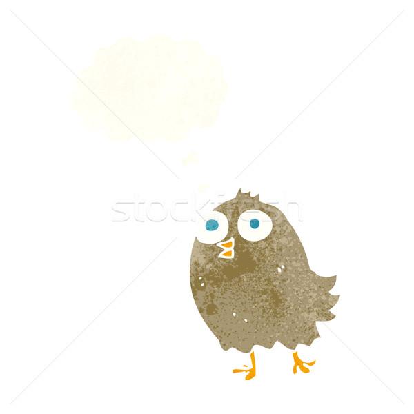 Karikatür mutlu kuş düşünce balonu el dizayn Stok fotoğraf © lineartestpilot