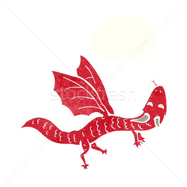 Desenho animado pequeno dragão balão de pensamento mão projeto Foto stock © lineartestpilot
