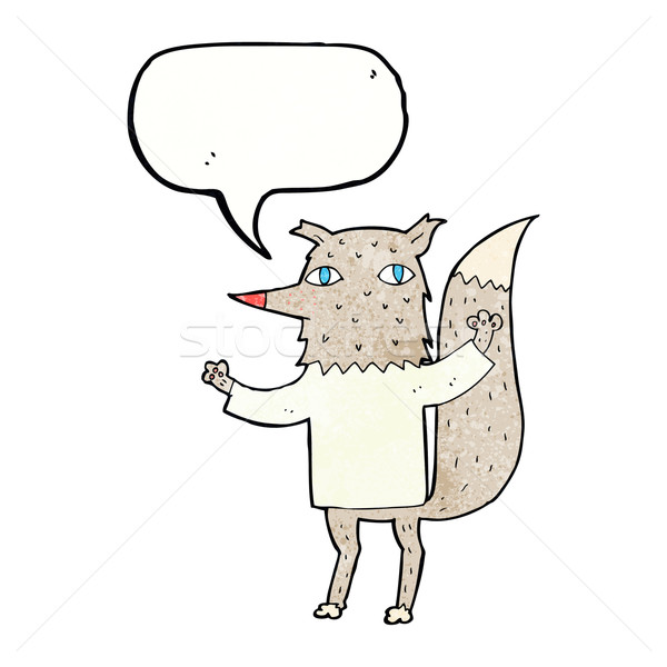 Karikatur Wolf Sprechblase Hand Design Kunst Stock foto © lineartestpilot