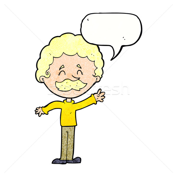 cartoon man with mustache waving with speech bubble Stock photo © lineartestpilot