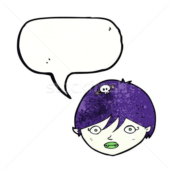 Karikatür vampir yüz konuşma balonu el dizayn Stok fotoğraf © lineartestpilot