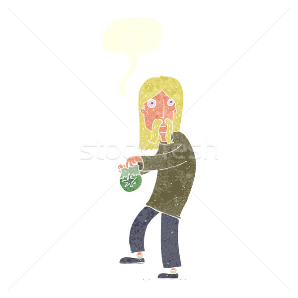 cartoon hippie man with bag of weed with speech bubble Stock photo © lineartestpilot
