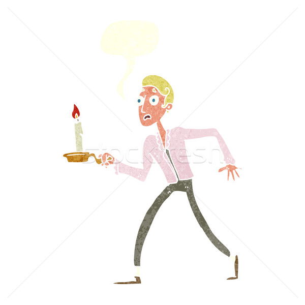 Cartoon przestraszony człowiek spaceru świecznik mowy Zdjęcia stock © lineartestpilot