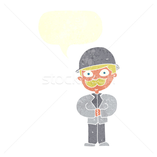 cartoon man in bowler hat with speech bubble Stock photo © lineartestpilot