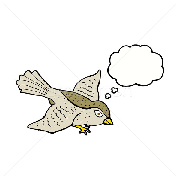 cartoon flying bird with thought bubble Stock photo © lineartestpilot