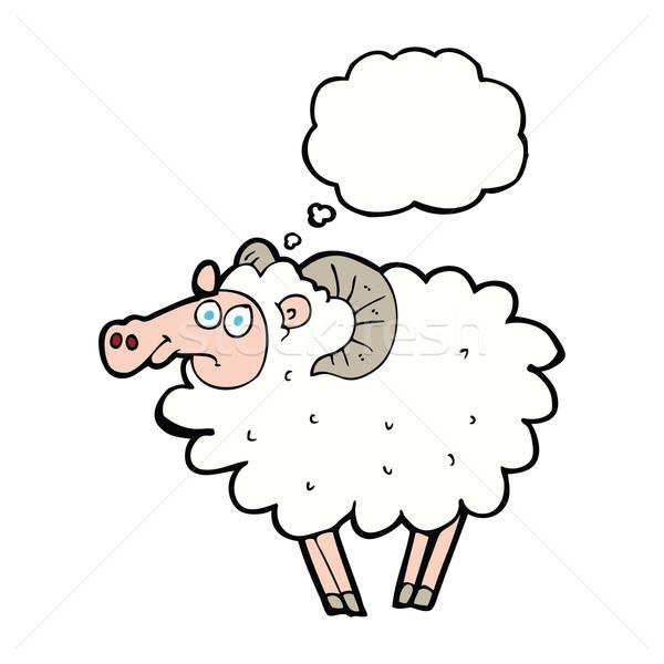 Cartoon carnero burbuja de pensamiento mano diseno granja Foto stock © lineartestpilot