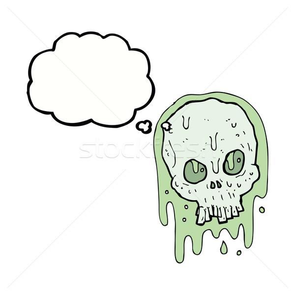 Cartoon слизистый череп мысли пузырь стороны дизайна Сток-фото © lineartestpilot
