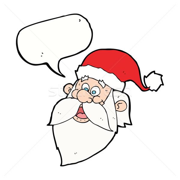 cartoon jolly santa claus face with speech bubble Stock photo © lineartestpilot
