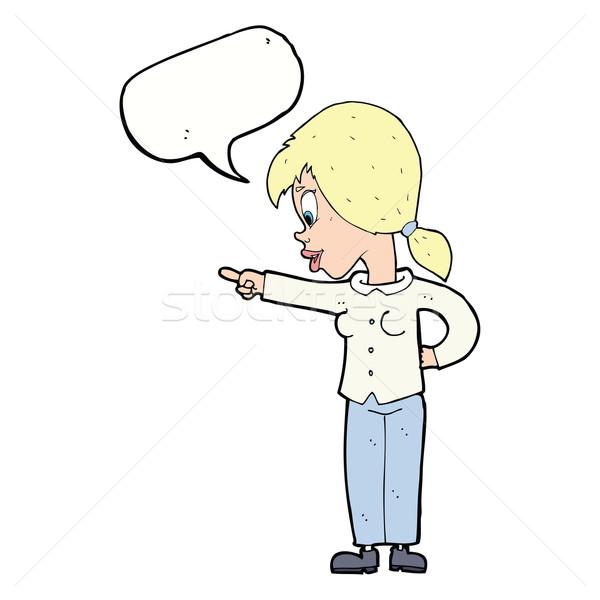 Cartoon enthousiast vrouw wijzend tekstballon hand Stockfoto © lineartestpilot