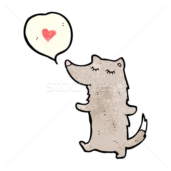 Cute Cartoon волка сердце ретро рисунок Сток-фото © lineartestpilot