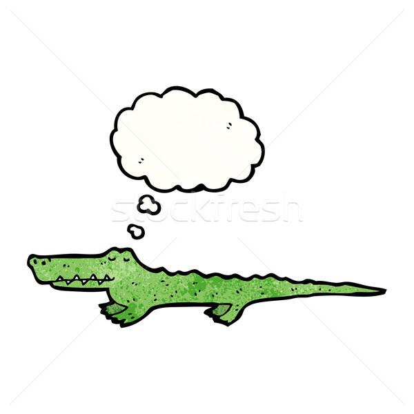 Rajz krokodil retro gondolkodik rajz ötlet Stock fotó © lineartestpilot