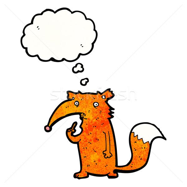 смешные Cartoon Fox ретро мышления рисунок Сток-фото © lineartestpilot
